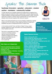 Shannon Bush Speaker Bio | Business Coach Perth | Business Speaker