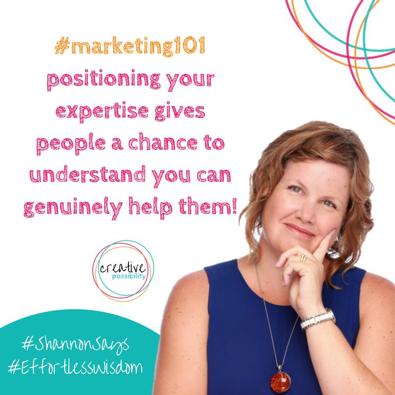 #marketing101 positioning creative possibility shannon bush