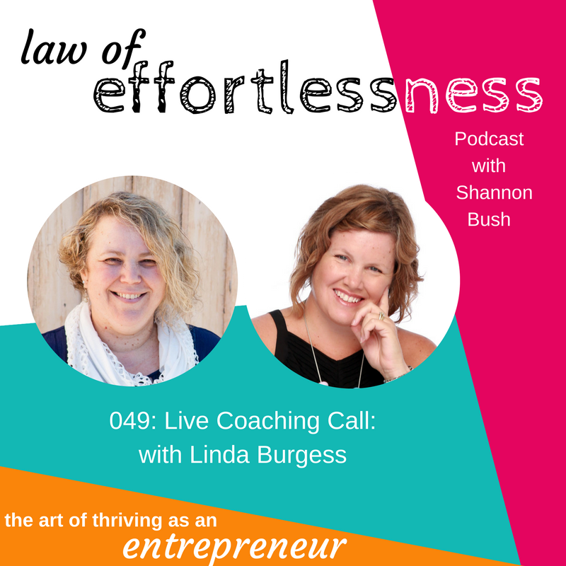 LOE 049 Live Coaching Call Linda Burgess Art Therapist | Shannon Bush Creative Possibility Business Coach Marketing