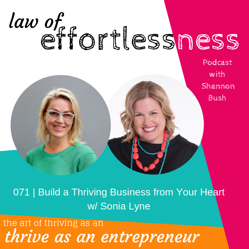 Creative Possibility Business Coach Marketing Coach Shannon Bush Entrepreneur Sonia Lyn Law of Effortlessness Podcast